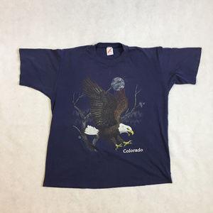 Vintage 1990 Colorado Bald Eagle Navy Tee